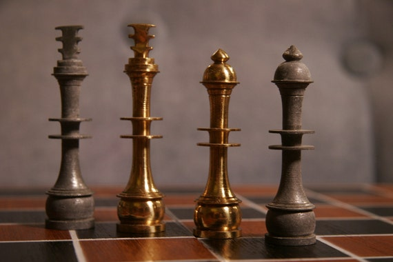 Modern Art Deco Metal Chess Set By Midcenturychess On Etsy