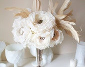 Country romantic soft creamy fabric flower bouquet softened by rooster feather details by Alternative Blooms on ETSY
