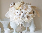 Handmade Paper flower bouquet COUNTRY SHABBY - fabric flowers and vintage Charm by Alternative blooms on ETSY