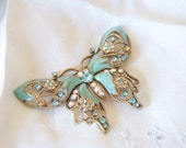 Vintage Blue brooch, special vintage addition for your Alternative bouquets - BUTTERFLY - Blue