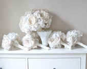 Eco bouquets Vintage style shabby chic paper flower wedding bouquet, soft cream fabric brooch flowers