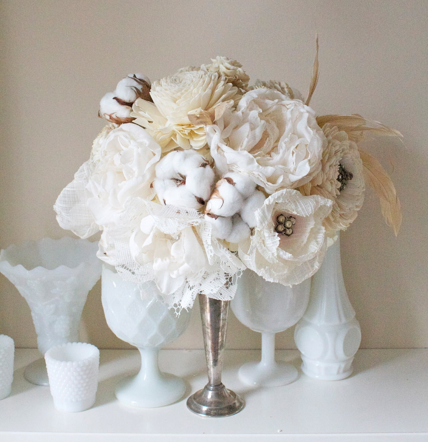 Items similar to Handmade Paper flower bouquet COUNTRY SHABBY fabric flower