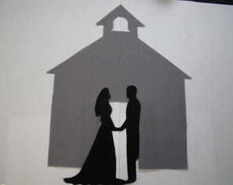 WEDDING SET, Bride/Groom Silouhettes & Church Fabric Die Cut Quilting Appliques