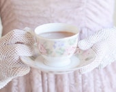 The Art of Tea (Original 8x8 Fine Art Photograph).  Female in pretty formal pale pink dress wearing lace gloves holding a cup of tea.