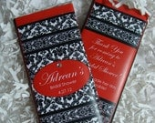 Wedding Candy Bar Wrappers - Chocolate Bars Favors - Damask Red, Blacka, White Damask - Wedding, Bridal Shower - Sweet 16 - Birthday