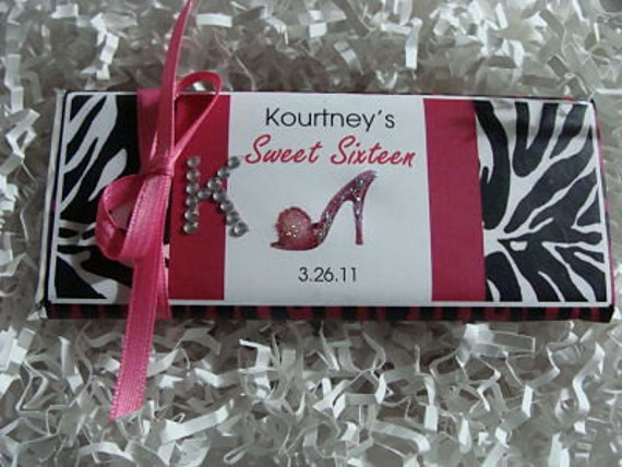 Sweet Sixteen/Bat Mitzvah Candy Bar Wrapper - Chocolate Bar Favors  - 40th, 50th, 60th, Birthday, Bridal Shower, Quince Anos