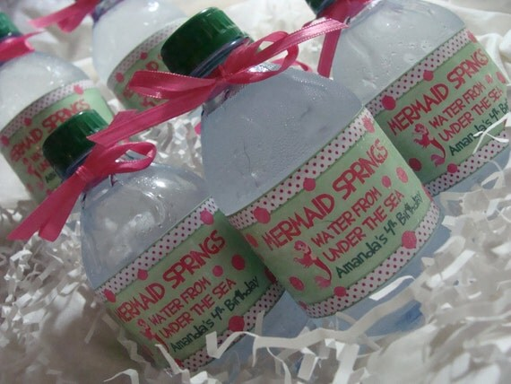 Ocean Mermaid Pink and Green Water Bottle Wrappers - For Girl Sea-themed Birthday Party
