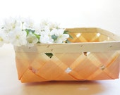 LAST CHANCE SALE: Woven Wood Basket, Hand Dipped in Soft Peach