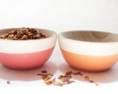 Wooden Mini Bowl Set of Two: Dark Pink and Orange