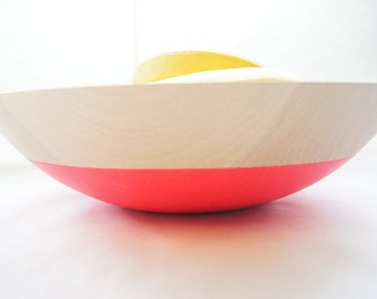 "Wooden Bowl 12"", Neon Pink or Neon Orange, Summer Party, Picnic, Kitchen Decor, Fruit Bowl"