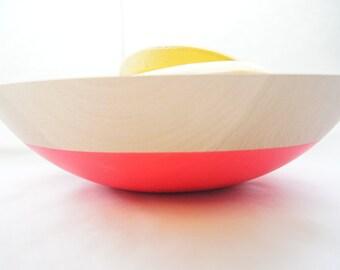 "Wooden Bowl 12"", Neon Pink or Neon Orange, Summer Party, Picnic, Kitchen Decor, Fruit Bowl"