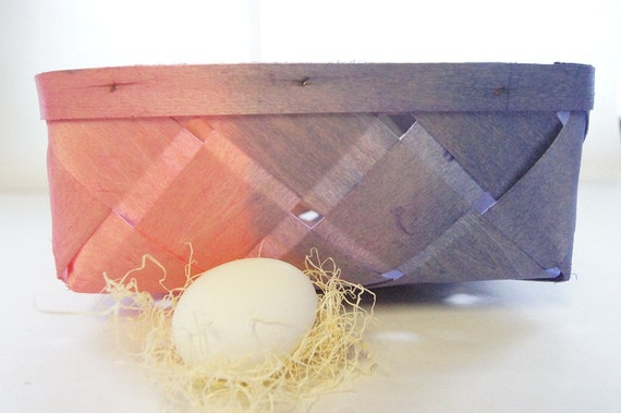 Woven Wood Basket:Spring, Hand Dyed in Pink and Purple, Perfect for Easter Decorating