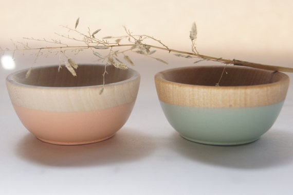 Wooden Mini Bowl Set of Two: Mint Green and Peach