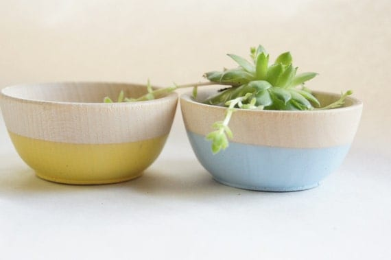 Wooden Mini Bowl Set of Two: Yellow and Blue