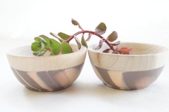 Wooden Mini Bowl Set of Two: Peach and Mink Swirl, Modern Kitchen