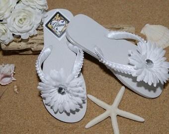 Bridal Flip Flops- Bridal Sandals- Beach Wedding- White Flip Flops- White Wedding-Flower Girl Flip Flops-Women Flip Flops-Flip Flops-White