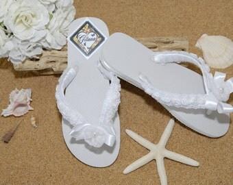 Bridal Flip Flops- Bridal Sandals- Beach Wedding- White Flip Flops- White Wedding-Decorated Flip Flops-Women Flip Flops-Flip Flops-White