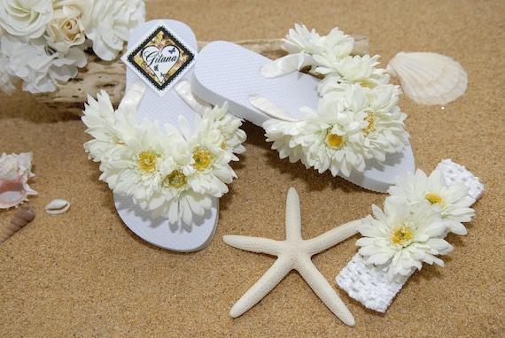 Flower Girl Flip Flops-Bridal Flip Flops-Flip Flops- Beach Weddings- White Flip Flops- Girl Flip Flops- White Wedding-Flip Flops