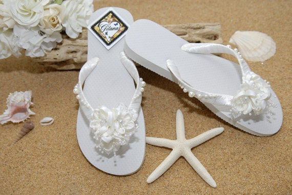 beach wedding ivory flip flops ivory weddings women flip flops