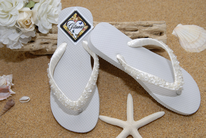 Items Similar To Bridal Flip Flops Bridal Sandals Beach Wedding Ivory Flip Flops Ivory
