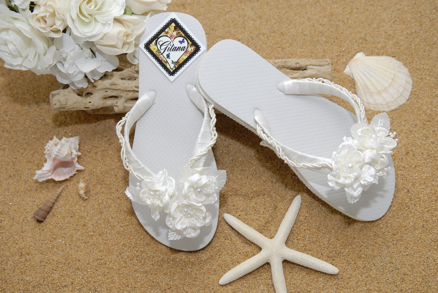 Bridal Flip Flops Bridal Sandals Beach Wedding Ivory Flip