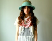 handmade summer hat. hemp and mint organic cotton. medium size wire brim. one size. in stock.