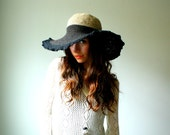 summer straw hat. crochet organic hemp. large wire brim. tan and black. one size. made to order