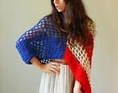 Liberty Shrug.  crochet lace shrug in american flag motif. one size.