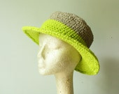 handmade sun hat. two tone crochet design with hemp and organic cotton in NEON. one size. medium wire brim. made to order