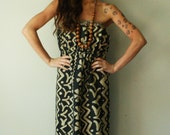 Tube top maxi dress. African tribal print. size medium to large. in stock. ooak.