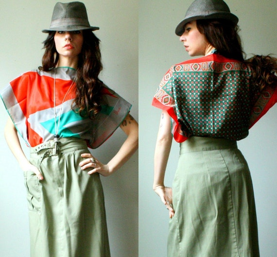 handmade batwing caftan tunic top. vintage silk scarves into blouse. poppy and turquoise green. chevron print. size sm to md. in stock