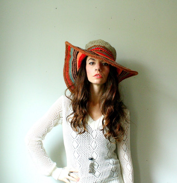handmade avant garde hat with large floppy wire brim. tribal wild colors. bamboo, silk thread, and hemp. one size. in stock