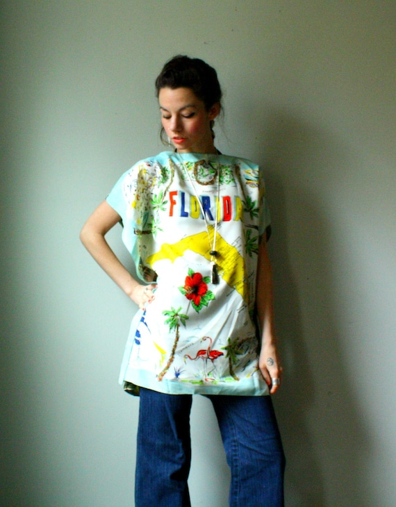 handmade batwing tunic. vintage silk caftan dress. florida map and jungle print. size small. in stock.
