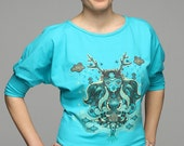 Limited edition screenprinted Deergirl on Dolman Sleeve Top for women.