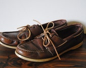 Dexter Leather Boat Shoes - Women's Size 9.5 - Moccasins Sliders Loafers Dark Brown Nautical Gardening House Shoes Slippers Slip Ons