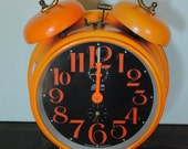 Tangerine Orange Linden Black Forest Alarm Clock - 1960s Black Mid Century Modern Home Decor Decoration Time Typography Numbers Shelf Sitter
