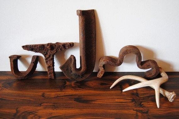Salvaged Rusty Railroad Letters - J T U M W - Sculptural Pieces Home Decor Decoration Supplies Industrial