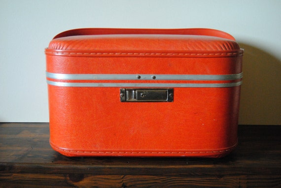 Orange Train Case - Mid Century Modern Travel Tangerine Luggage Suitcase Home Decor Collectable Jewelry Box Makeup Case Summer Vacation