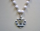 Navy and White Striped Anchor Sparrow Swallow Necklace Nautical Rockabilly Sailor