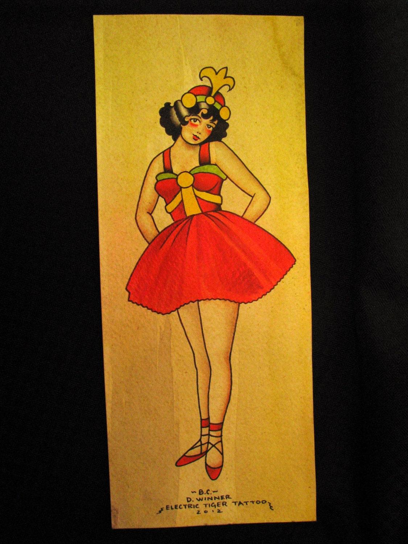 Original tattoo flash painting ballerina dancer pinup vintage for Peinture mural original