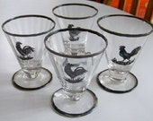 Silver Rimmed Rooster Tumblers