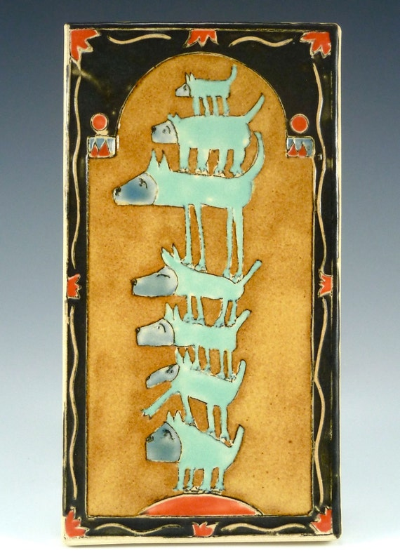 Low Dog on Totem Pole-Handmade Ceramic Art Tile-Blue dogs stacked 7 high with yellow background and black border