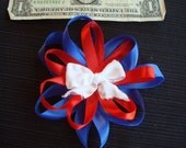 Satin layered loopy bow July 4th american flag girls hair bow, Red white and blue