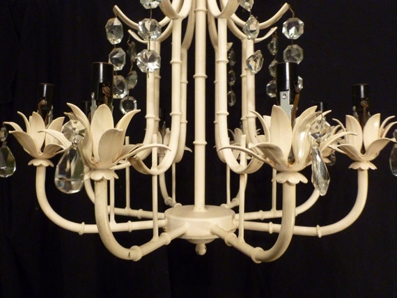 RESERVED FOR AMY until June 27th   Vintage Faux Bamboo Chandelier  with Crystals Chinoiserie