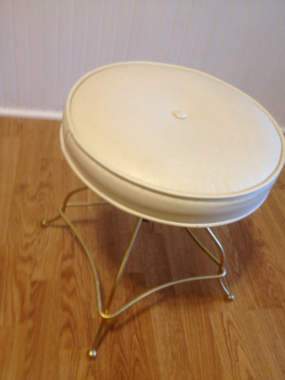 Vintage Hollywood Regency White Vanity Stool Swivels
