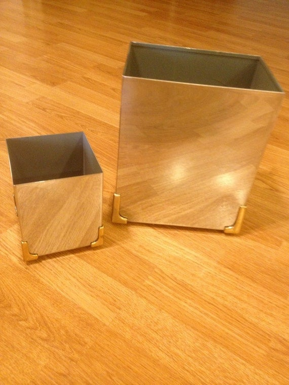 RESERVED FOR CASSIDY till Sept 4 Midnight///Vintage Mid Century Modern Waste Paper Basket Basket Trash Can and Matching Box Chrome and Gold