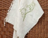 Cotton Teatowel - Hand Woven - Eco-Friendly Flower Design with Green thread color