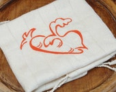 Cotton Teatowel - Hand Woven - Eco-Friendly Carrot and Radish Design with orange thread color