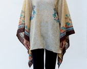 Womens Poncho - V Neck Top Floral Print Tan Sale Womens Top One Size - Donation to RED CROSS