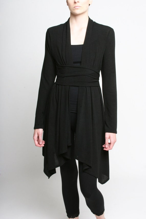 Womens Clothing - Womens Cardigan Cotton Black Sweater Small M Large - Donations to RED CROSS